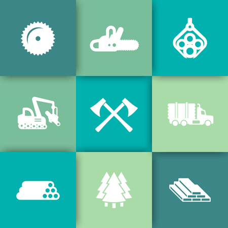 logging: Logging, forestry equipment icons, sawmill, logging truck, tree harvester, timber, wood, lumber, chainsaw icons on squares vector