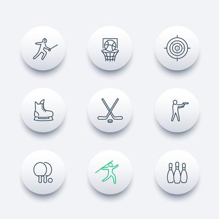 skating on thin ice: sports, games, team sport line round modern icons, vector illustration Illustration