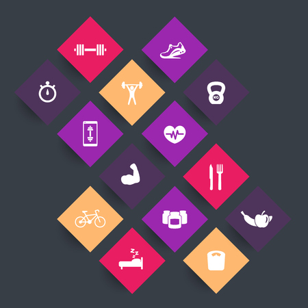 rhombic: 14 fitness, gym rhombic icons, fitness app, training icon, vector illustration