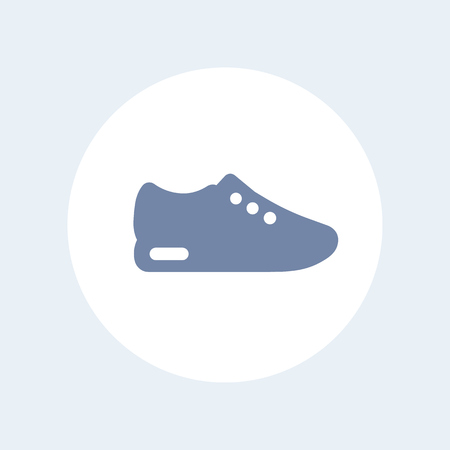 over white: Running shoe icon, trainers, sneakers icon isolated over white, vector illustration