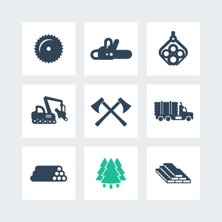 Logging, forestry equipment icons, sawmill, logging truck, tree harvester, timber, wood, lumber, chainsaw icons on squares, vector illustration Çizim