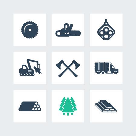 Rejestrowanie, ikony Maszyny Leśne, tartak, ciężarówka z logowaniem, zbożowy drzewo, drewno, drewno, drewno budowlane, piły łańcuchowe ikony na placach, ilustracji wektorowych Logo
