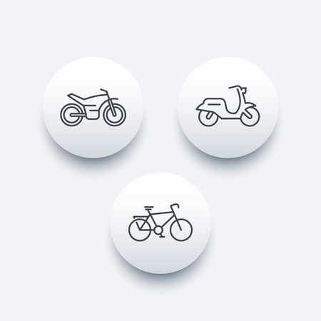 Bike, motorcycle, motorbike, cycling, scooter line round modern icons, vector illustration