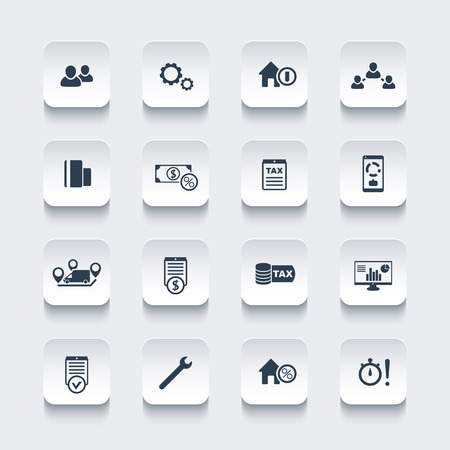 16 finance, costs, tax rounded square icons, vector illustration