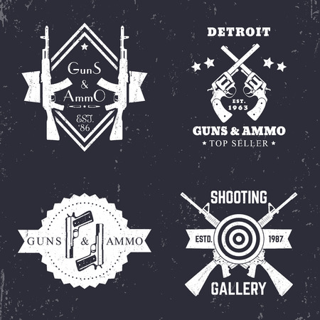 assault: guns and ammo, vintage logo, badge with automatic rifles, crossed revolvers, two pistols, shooting gallery logo, sign with assault Illustration