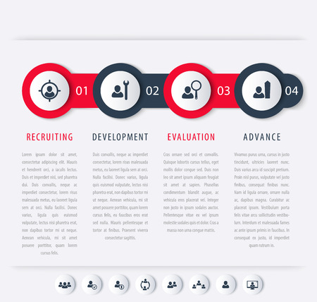 hr: Staff, HR, staff development steps, timeline template, infographics elements, icons, vector illustration