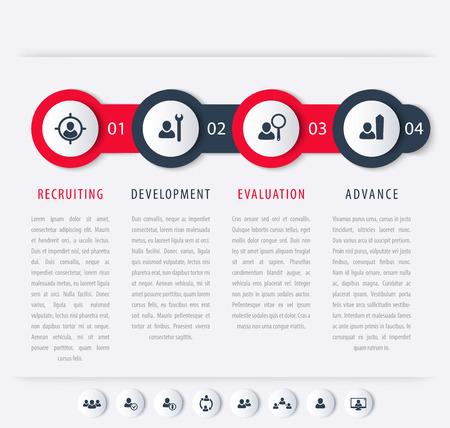 Staff, HR, staff development steps, timeline template, infographics elements, icons, vector illustration