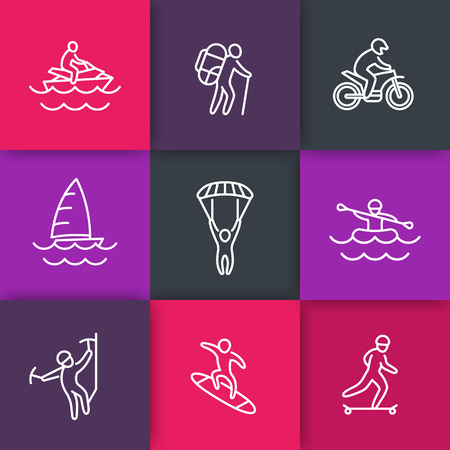 active lifestyle: extreme outdoor activities, active lifestyle line icons, vector illustration