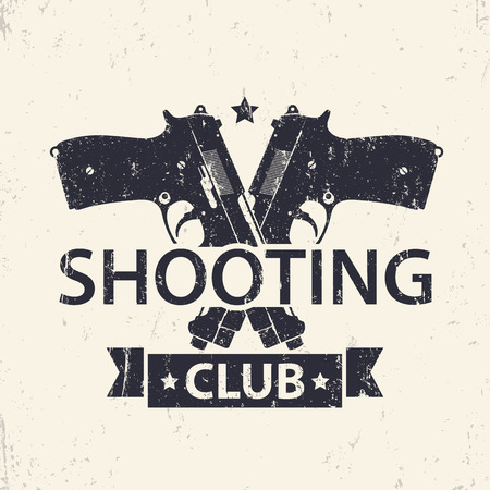 pistols: Shooting Club, emblem, sign with crossed pistols, guns, vector illustration Illustration