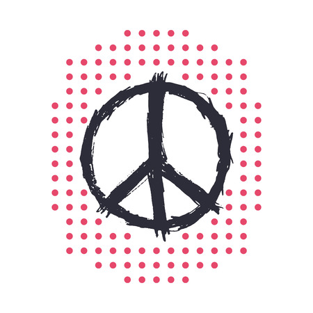 over white: t-shirt design, print with peace sign, isolated over white, vector illustration