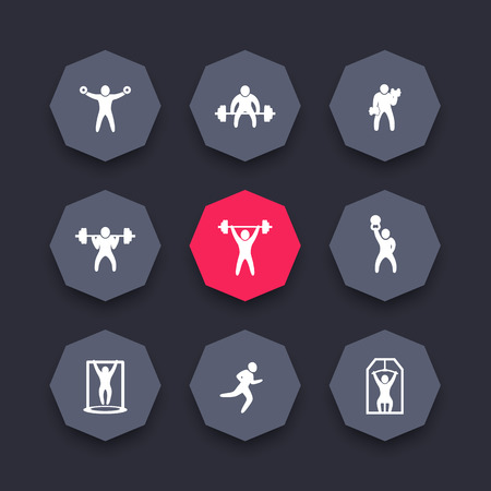 strength training: Gym, fitness exercises octagon icons set, strength training, workout icon, vector illustration Illustration