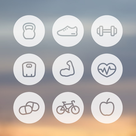 robust: Fitness thick line icons, healthy lifestyle round linear icons, training, workout, biceps, vector illustration