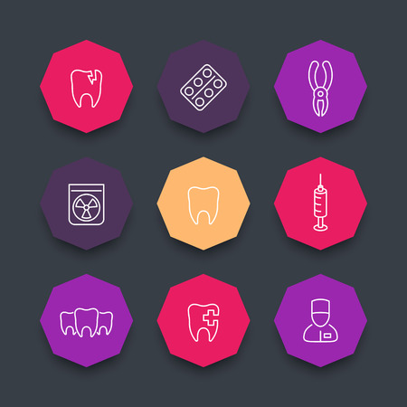 toothcare: Tooth line icons, dental care, dental pliers, toothcare, dentist, color octagon icons set, vector illustration