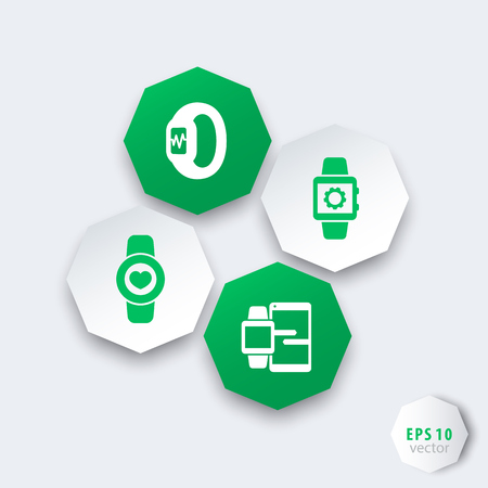 between: Smart watch icons, smartwatch, fitness tracker, data synchronization between smartwatch and smartphone, wearable technology octagon icons, vector illustration