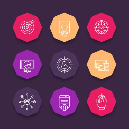 octagonal: Iconos de SEO, color conjunto octogonal, vector