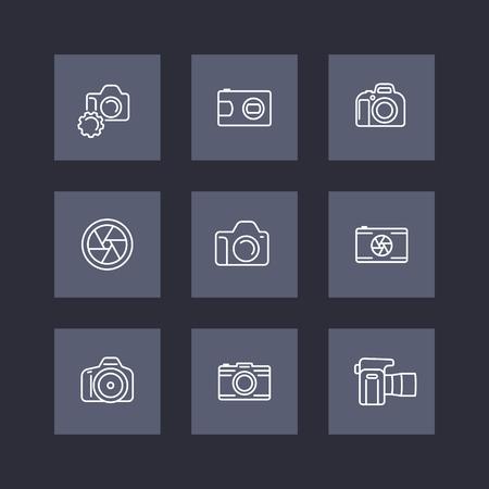 slr camera: camera, photography line icons, dslr, aperture, slr camera square icons set, vector illustration