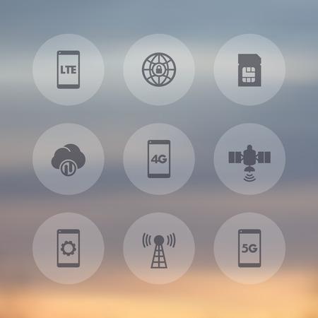 long term: wireless technology transparent icons Illustration