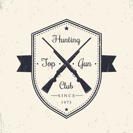 top gun: Hunting Club vintage emblem, logo on shield with crossed hunting rifles, vector illustration Illustration