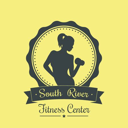 robust: Fitness Center, vintage logo with athletic girl, vector illustration