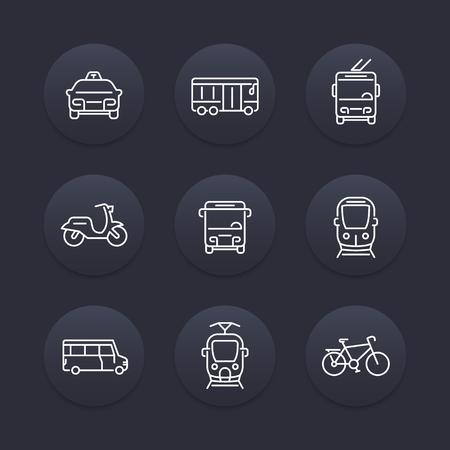 transit: City transport, transit van, train, bus line icon, taxi, transit bus icon, linear round icons set, vector illustration