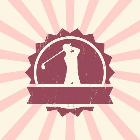 golfer swinging: Golf sign, vintage badge with man golf player, golfer swinging golf club, vector illustration