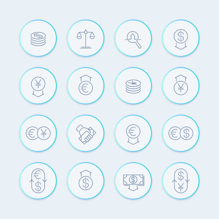 cost estimate: Currency line icons, forex trading, money, investment round stylish icons, vector illustration Illustration