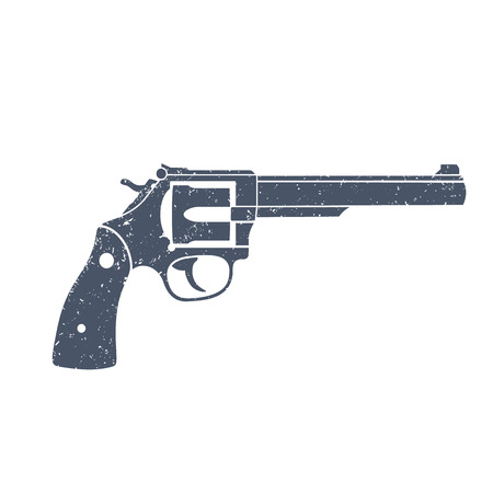 Old revolver, handgun, cowboys gun isolated over white, vector illustration