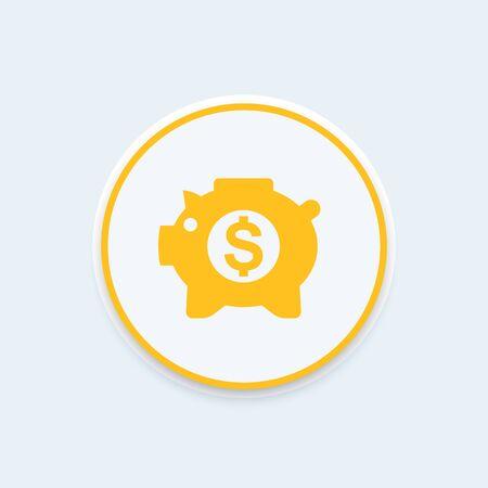 money box: moneybox icon, savings pictogram, money box pig, piggy bank, income, banking, savings round icon, vector illustration