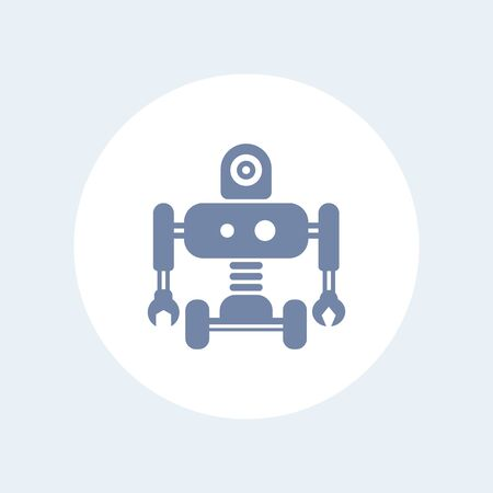 ai: Robotics icon, robot, mechanical engineering, AI isolated icon, vector illustration
