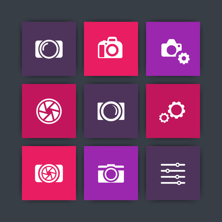 photography icons: photography icons, camera, aperture, photography store, camera pictograms, camera shop, icons set, vector illustration Illustration