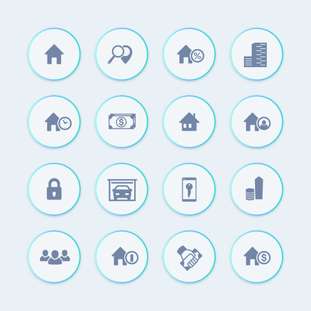 occupant: Real estate icons, house sale, apartments, search, homes for rent, real estate pictograms, round icons, vector illustration
