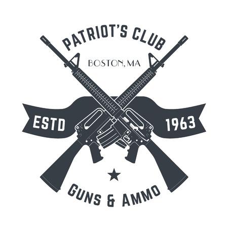 pistolas: logotipo de los Patriotas club de la vendimia con armas automáticas, signo de la tienda de armas de la vendimia con fusiles de asalto, tienda de armas emblema aislados en blanco, vector