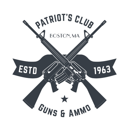 Patriots club vintage logo with automatic guns, vintage gun shop sign with assault rifles, gun store emblem isolated on white, vector Ilustrace