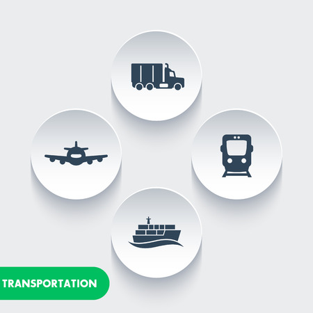 sea freight: transportation industry icons, cargo train vector, air transport, cargo ship, maritime transport, cargo truck icon, transportation Illustration