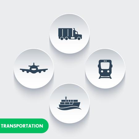 transportsector iconen, vracht trein vector, luchtvervoer, vrachtschip, maritiem transport, vrachtwagen icon, vervoer