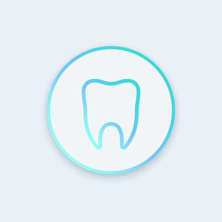 toothcare: Stomatology icon, dental clinic logo element, tooth line icon, tooth sign, vector illustration