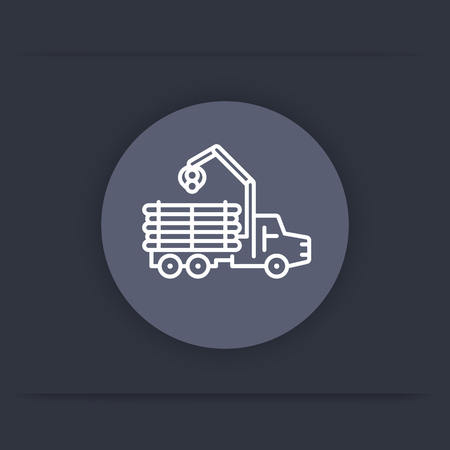 logging: Forwarder line icon, forestry vehicle, logger, logging truck round flat icon, vector illustration
