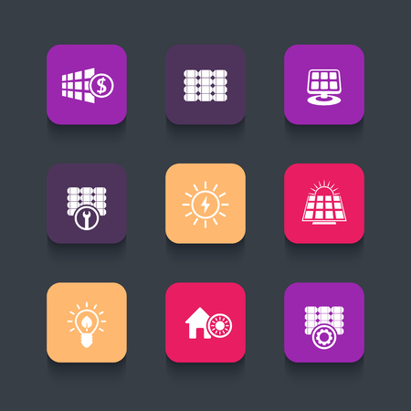 powered: Solar energy, panels, sun powered energetics rounded square icons, vector illustration