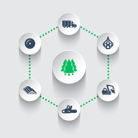 logging: Logging icons, timber, logging truck, tree harvester, lumberjack, truck with timber, wood, lumber, logging, timber industry