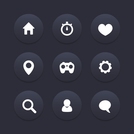 basic: Basic web icons, dark set, vector illustration Illustration