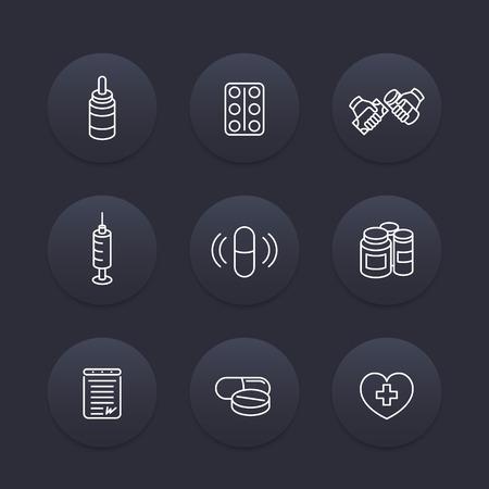 pharmaceuticals: medicine, drugs, pills line icons, pharmaceutics, supplements, pharmaceuticals, medication icons, dark set, vector illustration