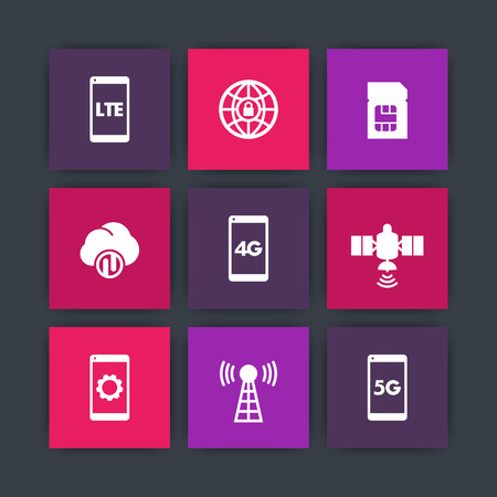 wireless communication: wireless technology icons, 4g network pictogram, lte icon, mobile communication, connection signs, 4g, 5g mobile internet symbols, Illustration