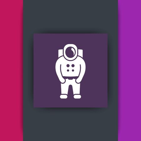 spaceman: Astronaut, spaceman, space suit square icon, vector illustration Illustration