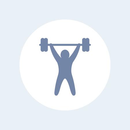 strength training: strength training isolated icon, workout icon, gym sign, fitness logo element, training pictogram, vector illustration Illustration