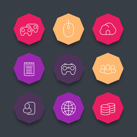 cooperative: videogames line icons, cooperative, multiplayer, gaming, color octagon icons set, vector illustration Illustration