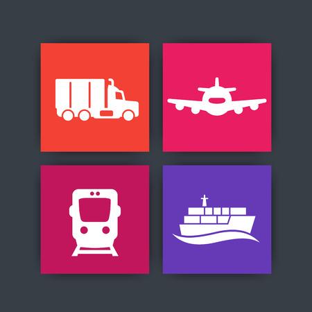 transportindustrie pictogrammen op pleinen, vracht trein vector, luchtvervoer, maritiem vervoer, vrachtwagen pictogram,