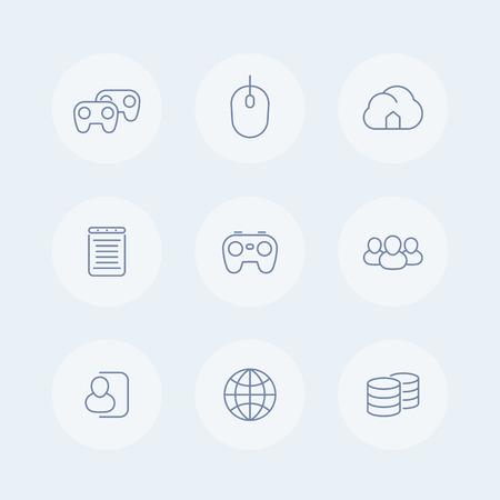cooperativismo: videojuegos, cooperativo, multijugador, cybersport, video consola de juego iconos de l�neas finas, ilustraci�n vectorial