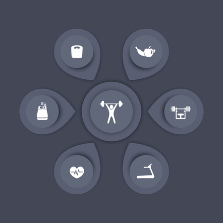aspects: aspects of gym training, fitness, modern icons, infographics elements, gray template, vector illustration