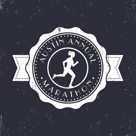 circulo de personas: emblema Maratón de la vendimia, horquillas, logotipos maratón redondo, signo de maratón con funcionamiento de la muchacha, ilustración vectorial