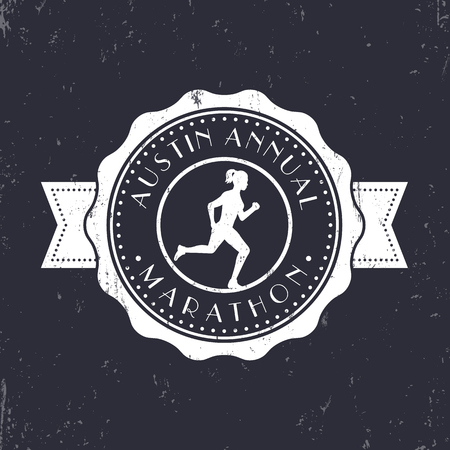 t shirt design: Marathon vintage emblem, badge, round marathon logo, marathon sign with running girl, vector illustration